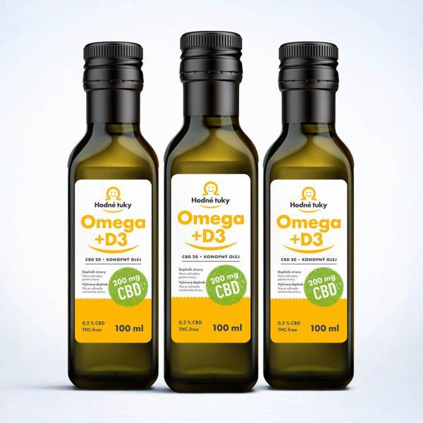 Omega +D3 konopný olej s 600 mg CBD