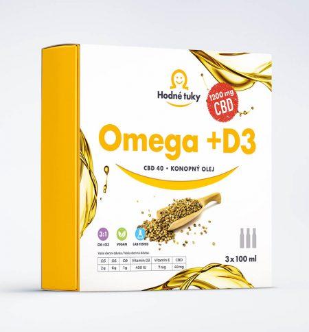 Omega +D3 konopný olej s 1200 mg CBD balení