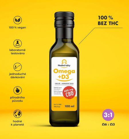 Omega +D3 konopný olej s 400 mg CBD