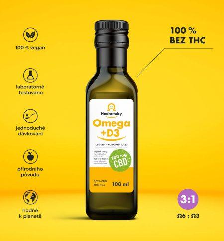 Omega +D3 konopný olej s 200 mg CBD