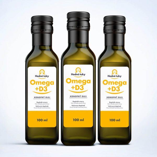 Hodné tuky Omega +D3 konopný olej